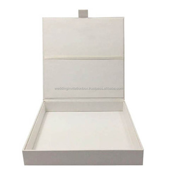 White Hand Crafted Paper Wedding Invitation Box With Thick Cardboard