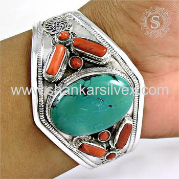 Splendid design coral, turquoise bangle handmade 925 sterling silver gemstone jewelry exporter