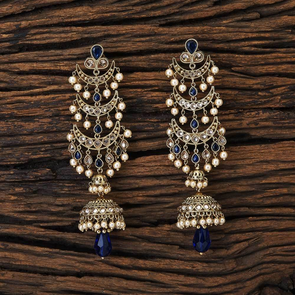 Chand Style Long Jhumki With Mehndi Plated Jewelry 17119 Blue