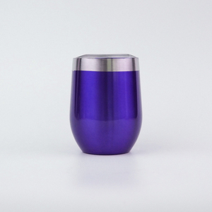 Normal coating 12oz stainless steel vacuum wine glass cup tumbler beer mugs with spill-proof slide lid