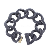 Wholesale Black Spinel Gemstone Link Chain Bracelet 14K Yellow Gold 925 Silver Handmade Jewelry