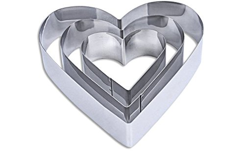 Para-wish 3 Tier Heart Multilayer Anniversary Birthday Cake Baking Pans ,Stainless Steel 3 Sizes Rings Heart Molding Mousse Cake Rings(Heart-shape,Set of 3)