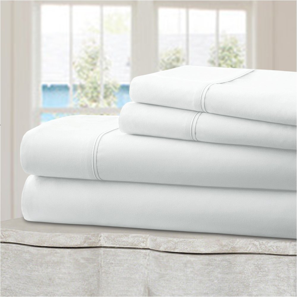 Mellanni 100% Cotton Bed Sheet Set - 300 Thread Count Percale - Deep Pocket - Quality Luxury Bedding - 4 Piece (Queen, White)