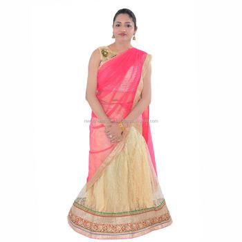 eafff9142 Indian Handmade Printed Gold Net Free Size Bridal Heavy With Blouse  Handwork Freesize Lehenga