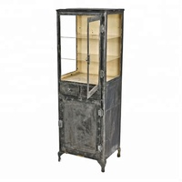 Industrial & vintage rusty grey black Indian iron 2 drawer 2 glass door display cabinet