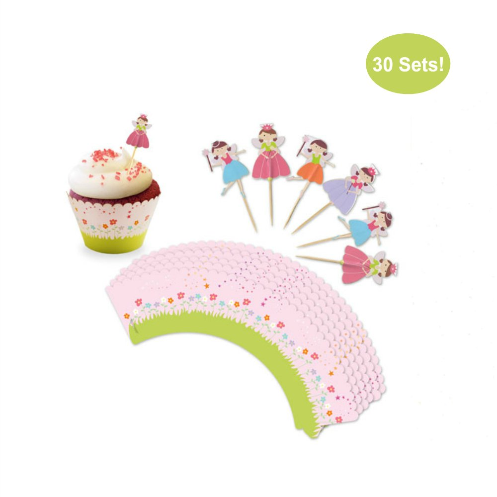Cupcake Toppers and Wrappers for Girl Birthday – Fairy Princess Party Cupcake Wrappers With Picks - Cupcake Kit – Cute Girl Party Supplies, Pink - NO Assembly Required – Set of 30 (Fairy Princess)