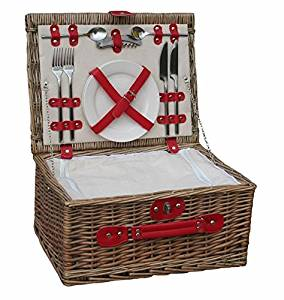 Retro Red Leather 2 Person Fitted Wicker Picnic Basket