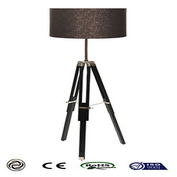 black wood floor lamp cotton shade