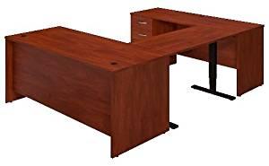 """Bush Sit Stand U Shaped Desk Features 72""""W X 24""""D Credenza 48""""W X 24""""D Height Adjustable Standing Bridge & 72""""W X 30"""" DeskW/ 3 Drawer Pedestal - Hansen Cherry"""
