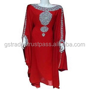 Top Market Selling HI FASHION Beach luxury beaded tunic chiffon./Dubai very fancy kaftan / Abaya Jalabiya Ladies kaftan Dress