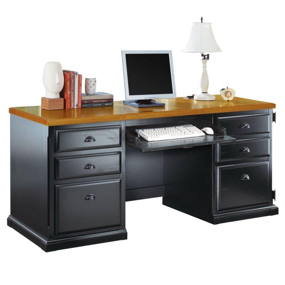"Southampton Onyx Computer Credenza Medium Oak Top/Southampton Black Onyx Dimensions: 68.25""W x 24.5""D x 30""H Weight: 299 lbs."