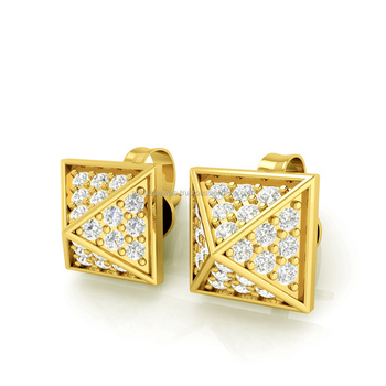 132af785d 5x5 Mm 14k Yellow Gold Diamond Stud Pyramid Earrings - Buy Full Cut ...