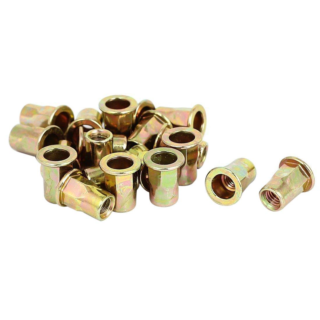 SODIAL(R) 20pcs M6x15mm Half Hex Body Flat Head Blind Rivet Nuts Nutserts Fasteners
