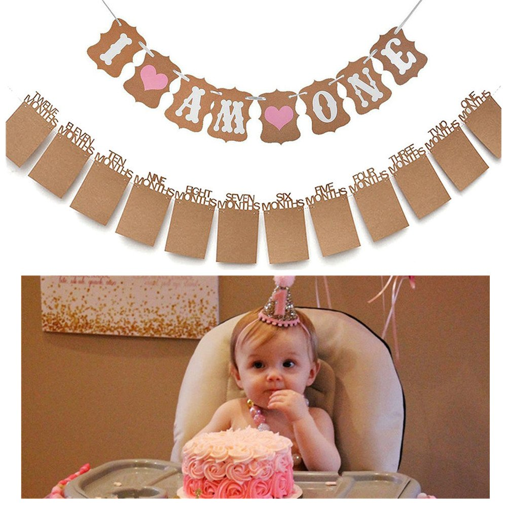 Baby First Birthday Decorations BannerI AM ONEand 1 12 Months Photo Rope Banner For Girl 1st Party Supply