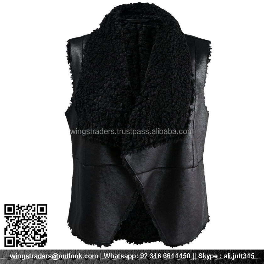 New Sexy Women Napa Leather With Sheep Black Fur Vest