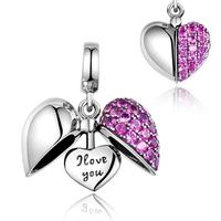 Sterling silver 925 custom engraved CZ crystal open heart charm pendant fits pandoras charms thailand