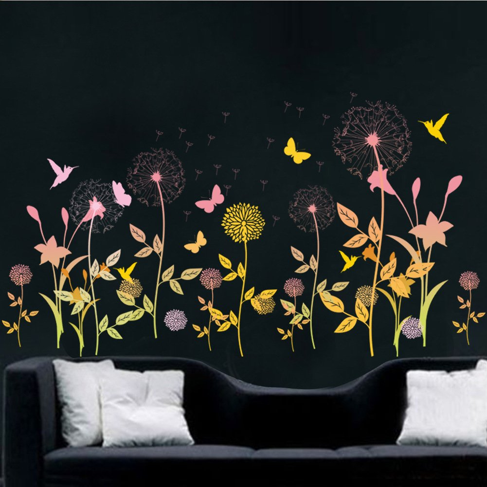 Amaonm Creative Fashion Light Yellow Orange Dandelion Wall Decals Butterfly Flower Wall sticker art Decor Home Corner wall Decoration Decals Bedroom Sticker Living Room Decals Kids Nursery Room Decor