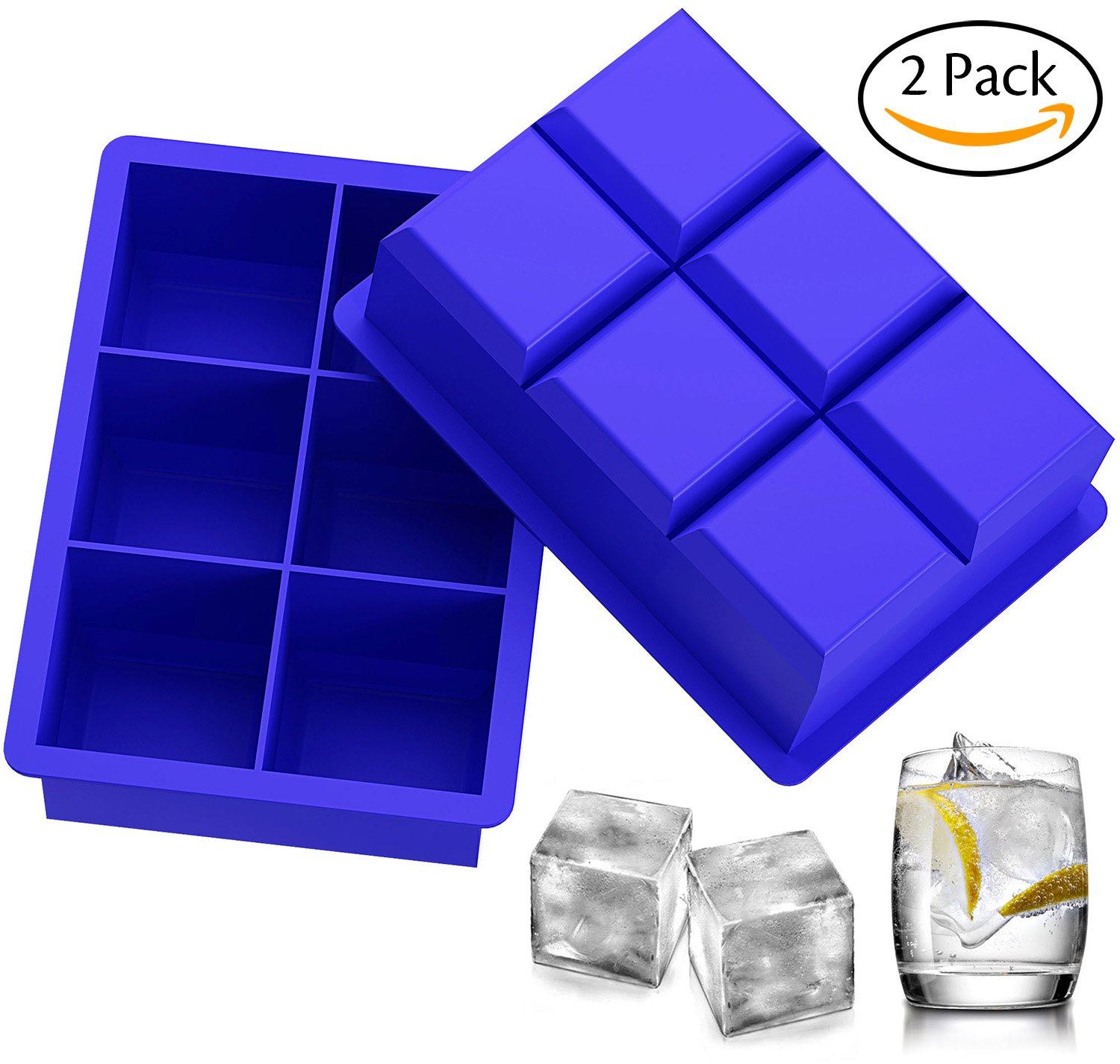 Ozera 2 Pack Silicone Ice Cube Tray Molds Candy Mold Cake Mold Chocolate Mold, 6 Cavity, Blue