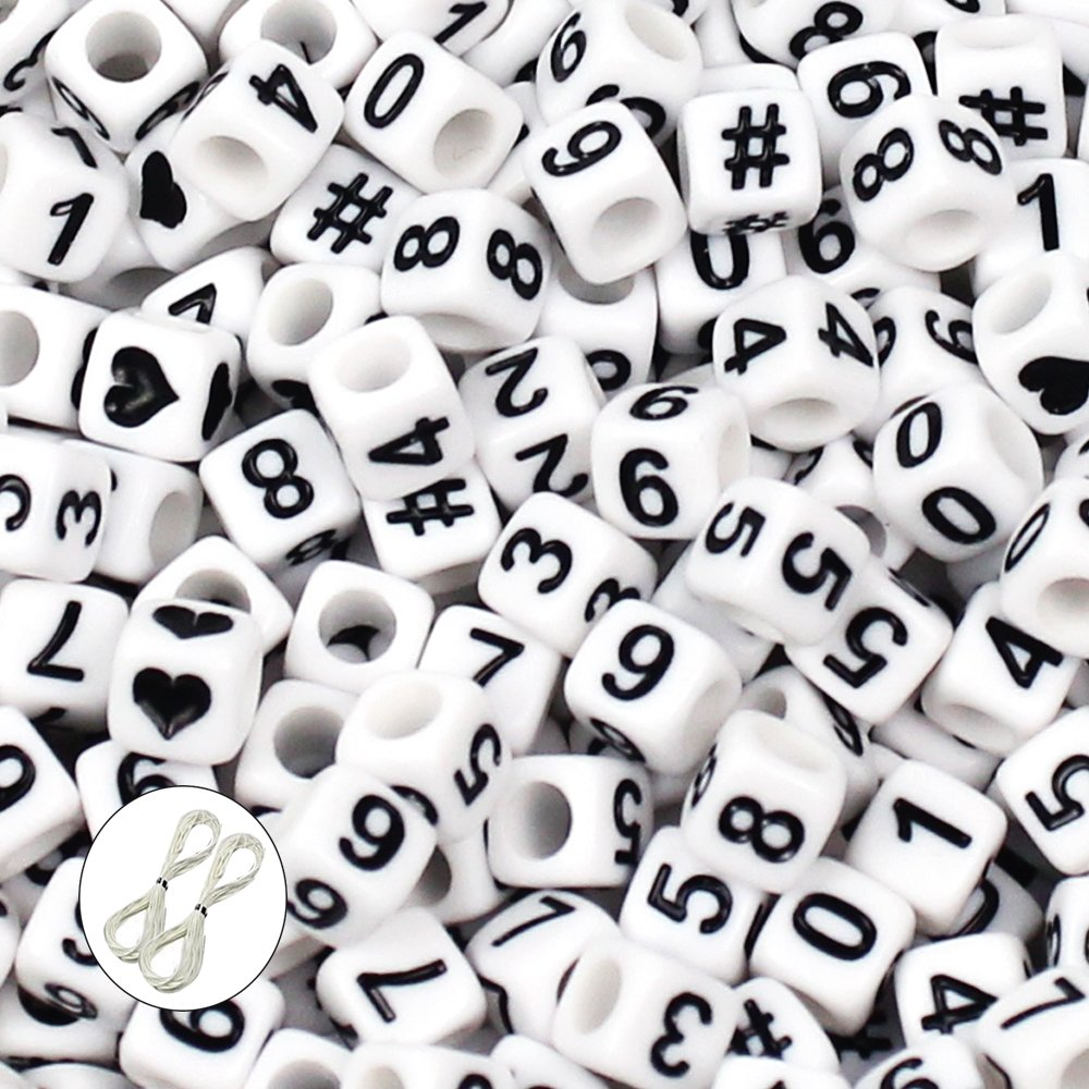 """JPSOR 600pcs 6mm Acrylic White Cube Number Beads """"0-9"""" with Black Numbers, with 2pcs White Beading Thread & 1 Grey Non-woven Pouch"""