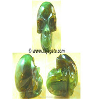 Chinese Green Jade Carved Skull Shape