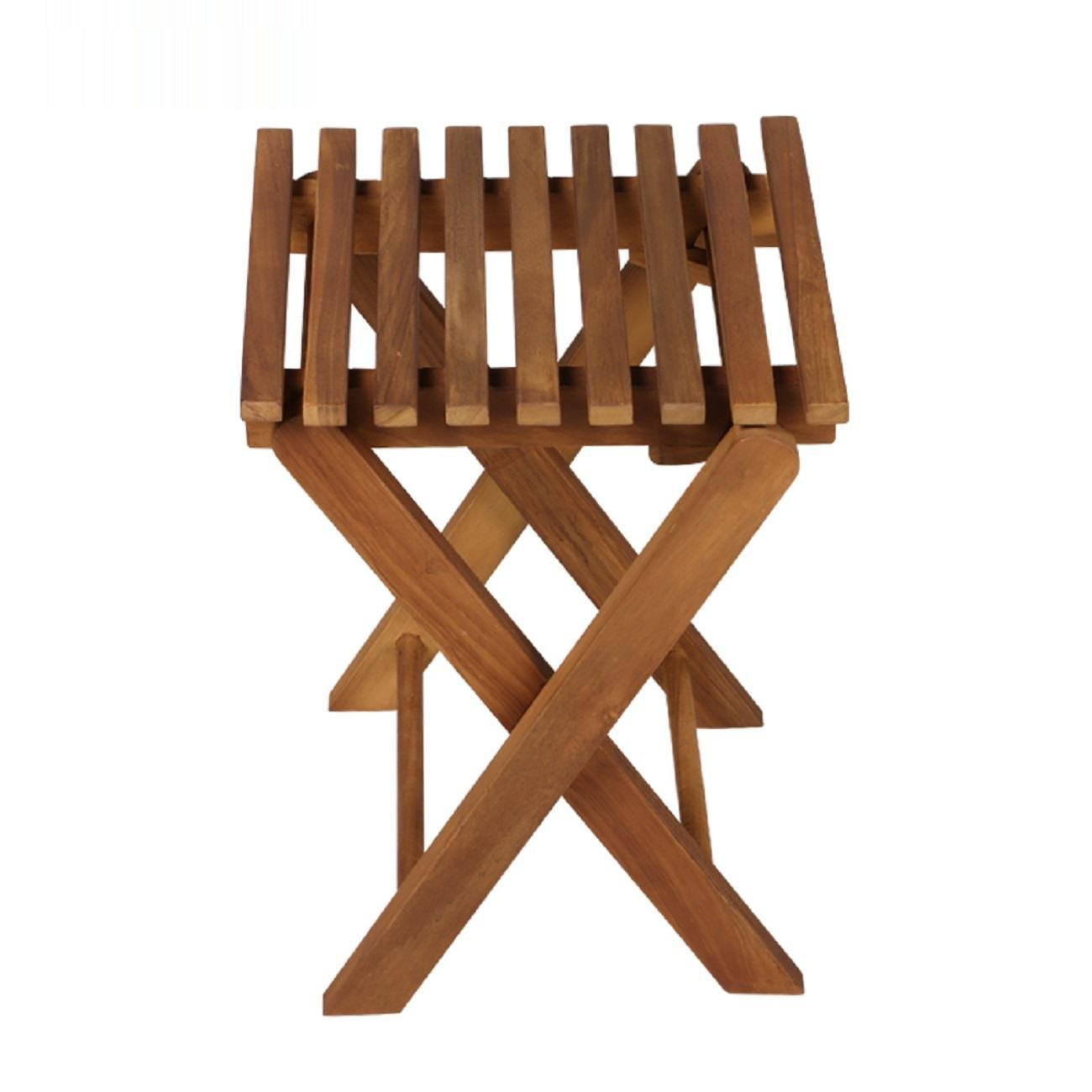 GAOJIAN Outdoor Folding Chair Stool Portable Fishing Chair Leisure Solid Wood Stool Teak Color