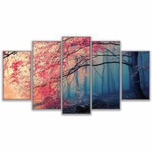 5 Pieces Cherry Painting HD 인화 Modern 벽 Art Canvas 꽃 Pictures Decor Red 색깔이 밝음 숲 회화 대 한 Living 룸