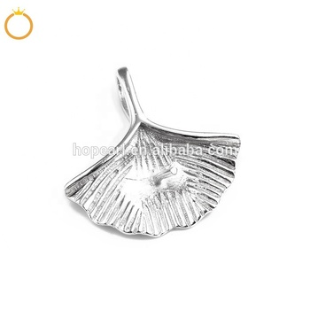 SSP36 Blank Pendant 925 Sterling Silver Ginkgo Leaf Pendant Findings Charm for DIY Jewelry Mountings