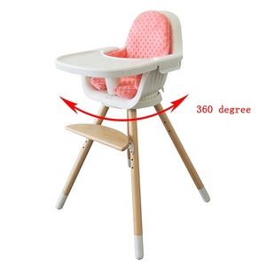 2019 Beech Wood PP Plastic PU Material Portable Baby High chair, High Chair Baby Feeding, Dining Chair Baby HC-02