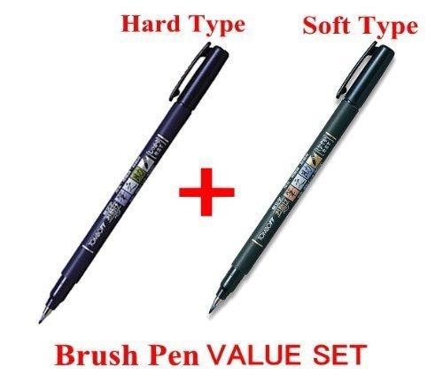 3Pacs X Tombow Fudenosuke Brush Pen / Soft Type & Hard Type (Each 3 Pens) / Total 6 Pens Set