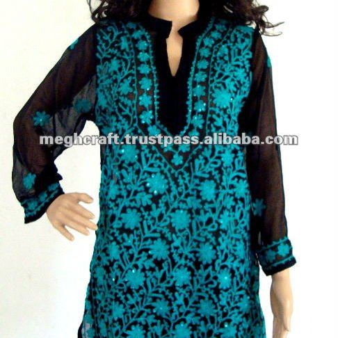 395e50b2167 Women plus size embroidered Georgette Kurtis - Embroidered Tunics - Ladies  Tops