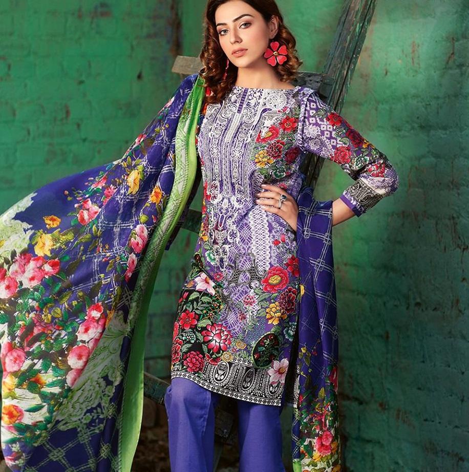 Lawn Cotone Abito Ricamato Indiano Pakistano cucita Tuta Estate Colore 3pc