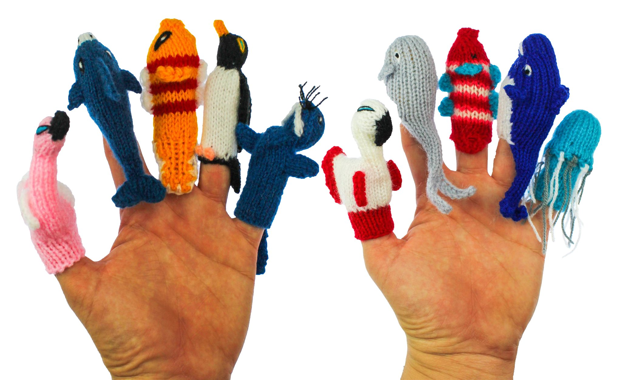 ThumbThings Handmade Finger Puppets Set of 10: Flamingo, Dolphin, Clown Fish, Penguin, Walrus, Roseate Spoonbill, Gray Whale, Tropical Fish, Blue Whale, Jellyfish