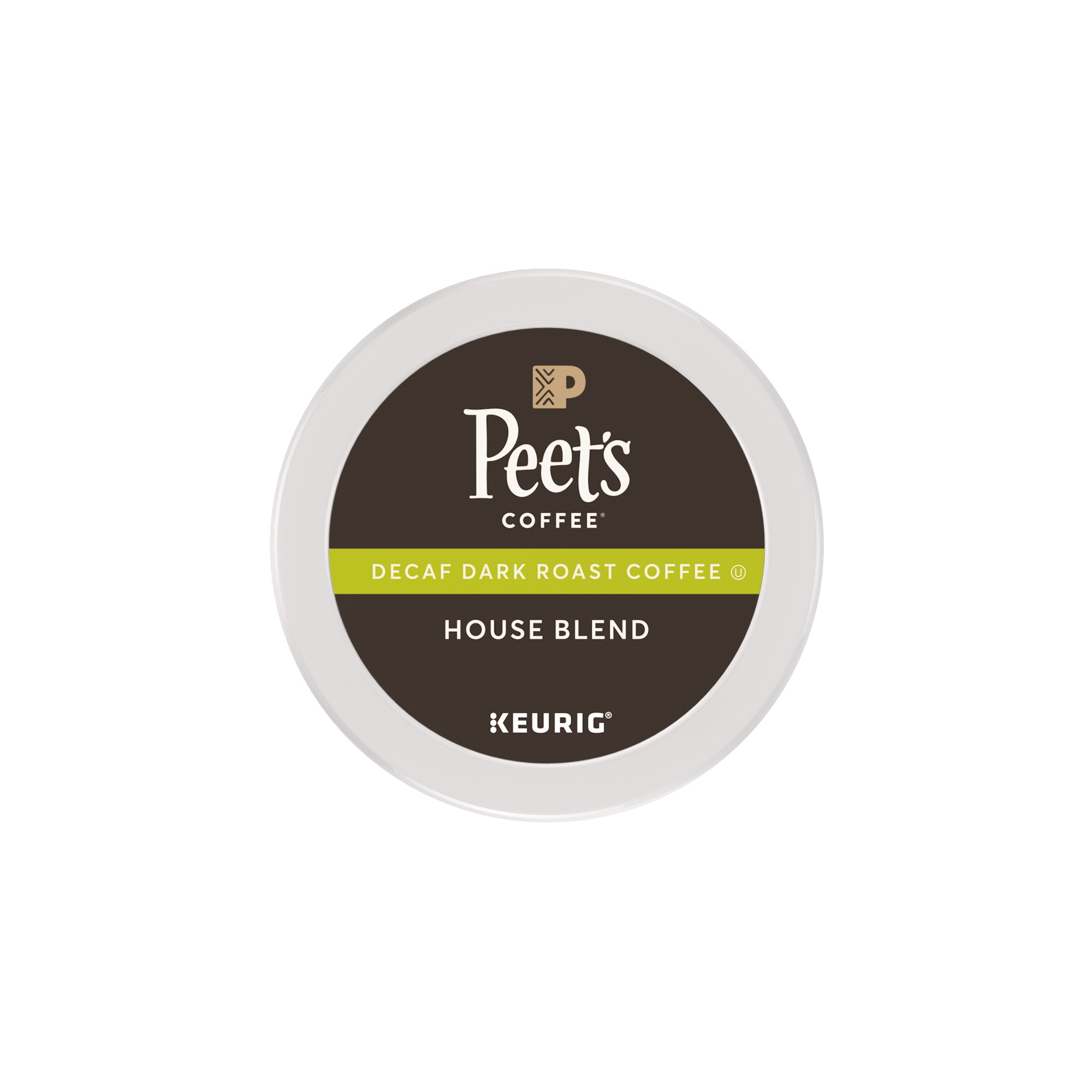 Peet's Coffee K-Cup Packs House Blend, Decaf Dark Roast Coffee, 16 Count Bright, Lively, and Balanced Dark Roast Blend of Latin American Coffees, Deep Roasted, Hint of Spice