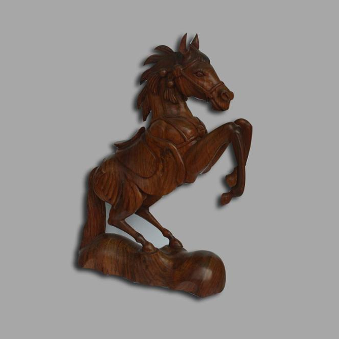 Antique Wooden Horse Sculpture