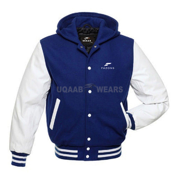 Wholesale Custom Logo Varsity Baseball University Bomber Sports Jacket Wool Body Leather Sleeve College Letterman Jacket Hoodie
