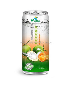 WANA Wholesale Coconut water bulk with Orange Flavor in 250ml Aluminum Can