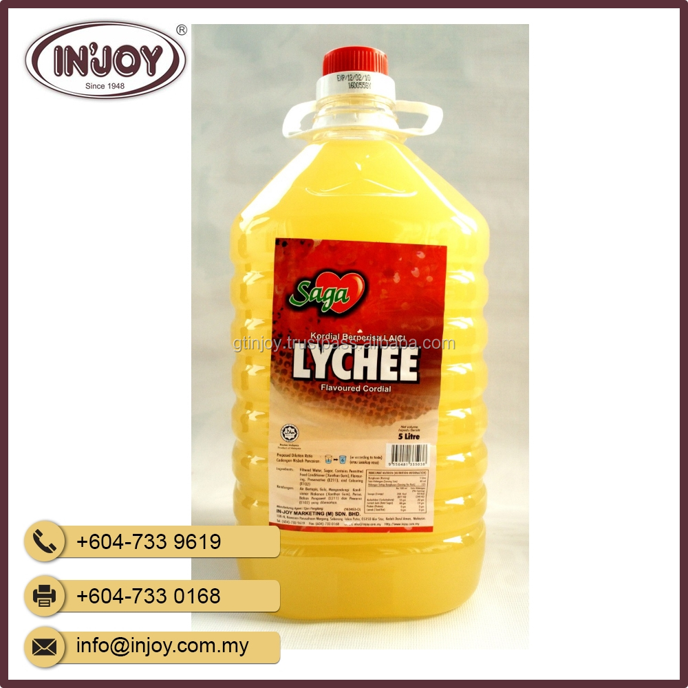 5L Lychee Fruit Concentrate Cordial Juice in Bottles