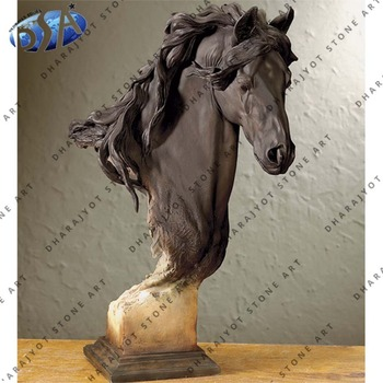 Indian Dark Brown Marble Semi Polished Decor Table Horse Head Statue Home Decorative Outdoor Statues Garden