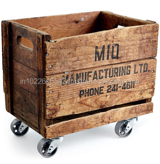 Distressed Wood Wine Crate With Wheels Vintage Wooden Bar Storage