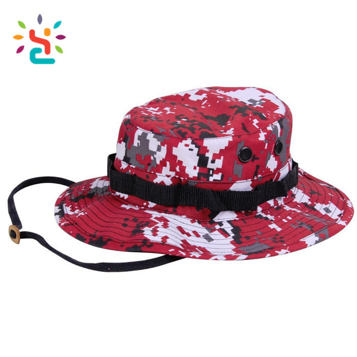 Camping Hat with Strings Army reversible print fisherman bucket cap for  children hot sale red boonie hats 6e3dee816c5