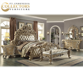 European Classic Solid Wood Hard Carved King Size Bed Frame Set - Bedroom Set furniture