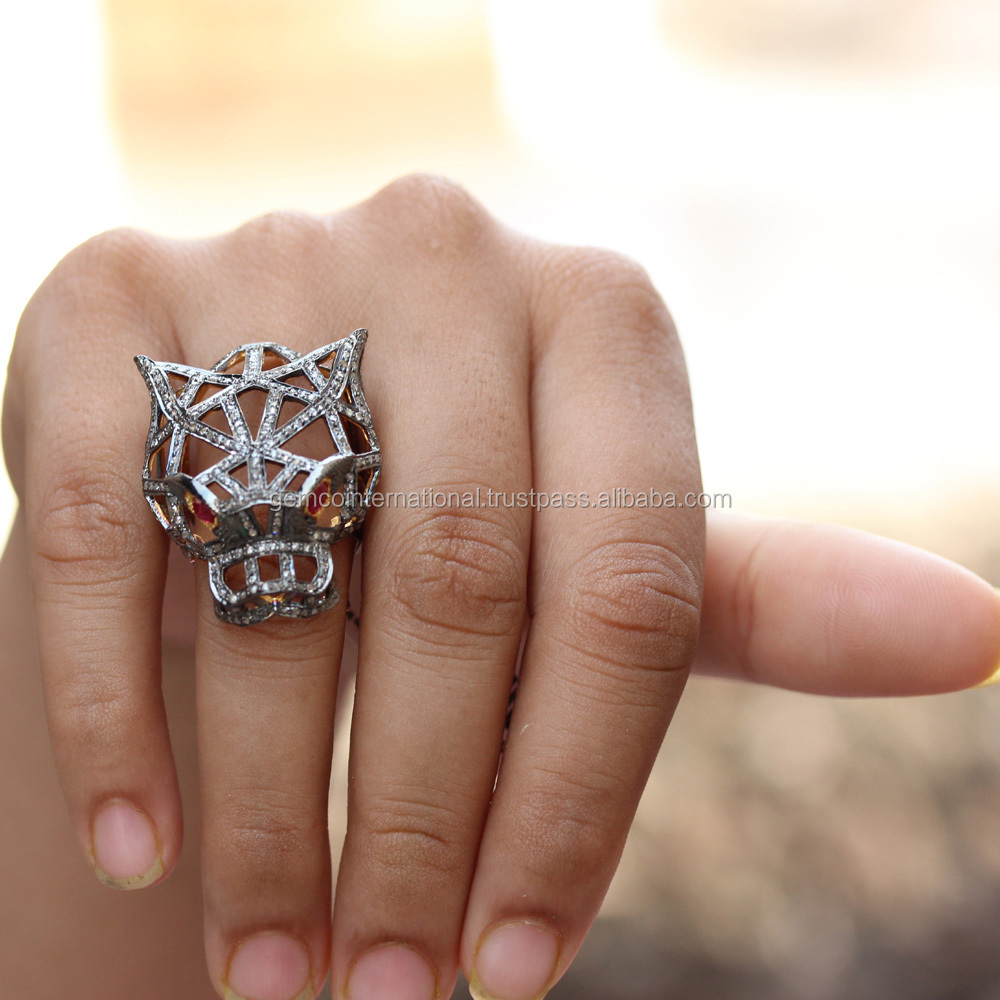 Silver Diamond Animal Jewelry Fashion Ruby Eyes Lion Head Ring