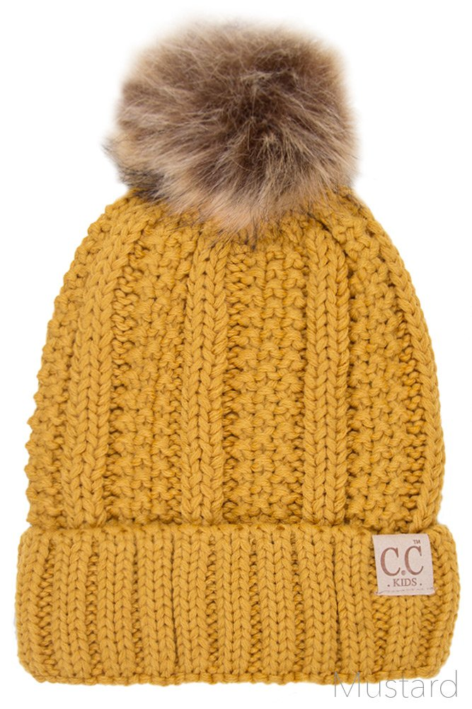 ScarvesMe CC Exclusive 2-7yrs Fuzzy Fleece Lined Baby Kids Toddler Children Winter Beanie with Pom Pom