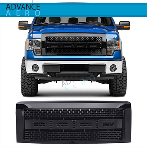 For 2009 2010 2011 2012 2013 2014 Ford F150 Raptor Style Front Replacement Black Hood Grille Upper