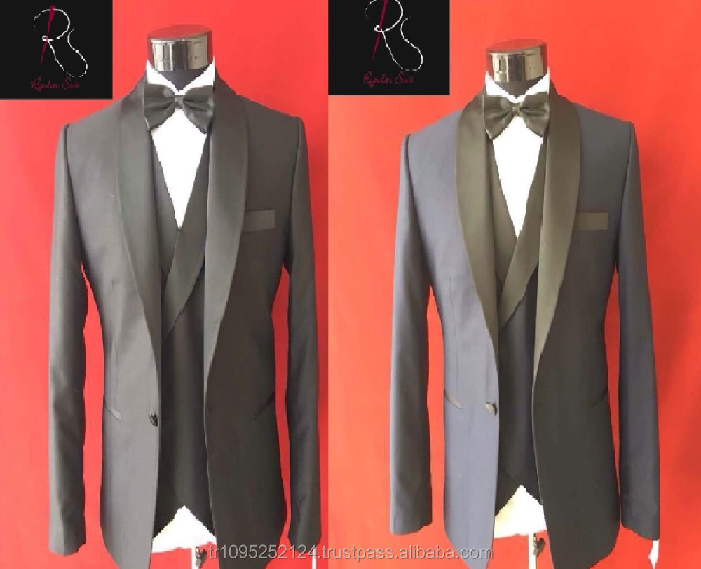 High Qaulity Fit Black and Navy Blue Men Slim Fit Wedding Suit