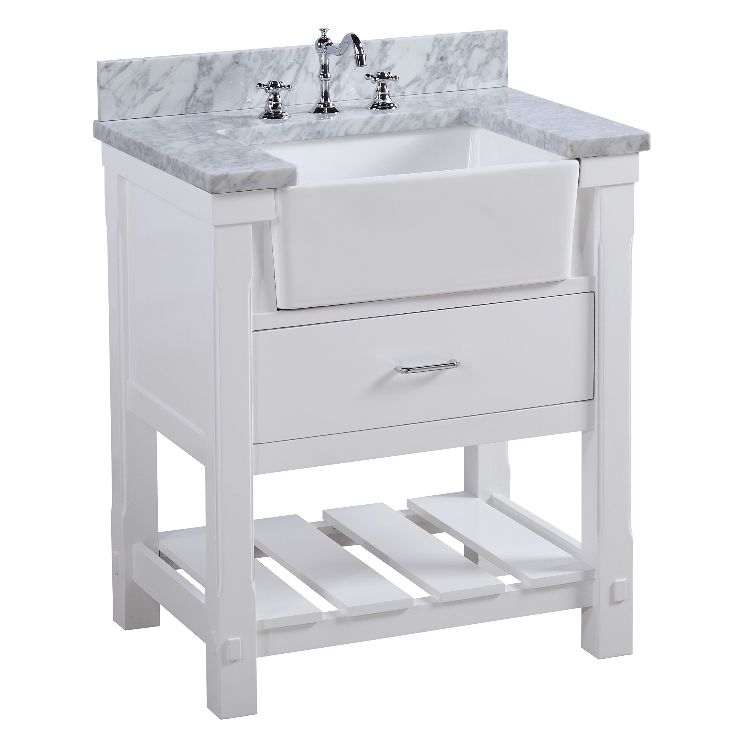 Buy Charlotte 30 Inch Bathroom Vanity Carrara White Includes A Carrara Marble Countertop White Cabinet With Soft Close Drawers And White Ceramic Farmhouse Apron Sink In Cheap Price On Alibaba Com