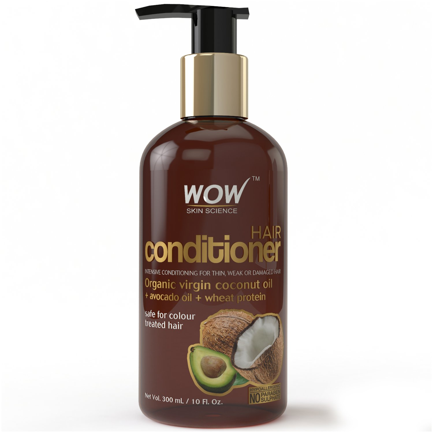 WOW Hair Conditioner - Deep Hair Conditioning for Dry Thin & Damaged Hair - Enriched with Coconut, Avocado Oil, Moroccan Argan Oil, Jojoba Oil - Vitamins B5 & E - Paraben and Sulfate Free - 10 Fl Oz