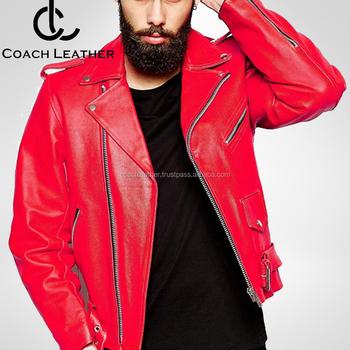 New 2018 Design Men S Red Biker Leather Jacket L Excellent Quality