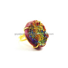 Shining Fashion Agate Pink Color Titanium Gemstone Electroplated 24K Gold Plated Adjustable Druzy Women Finger Ring