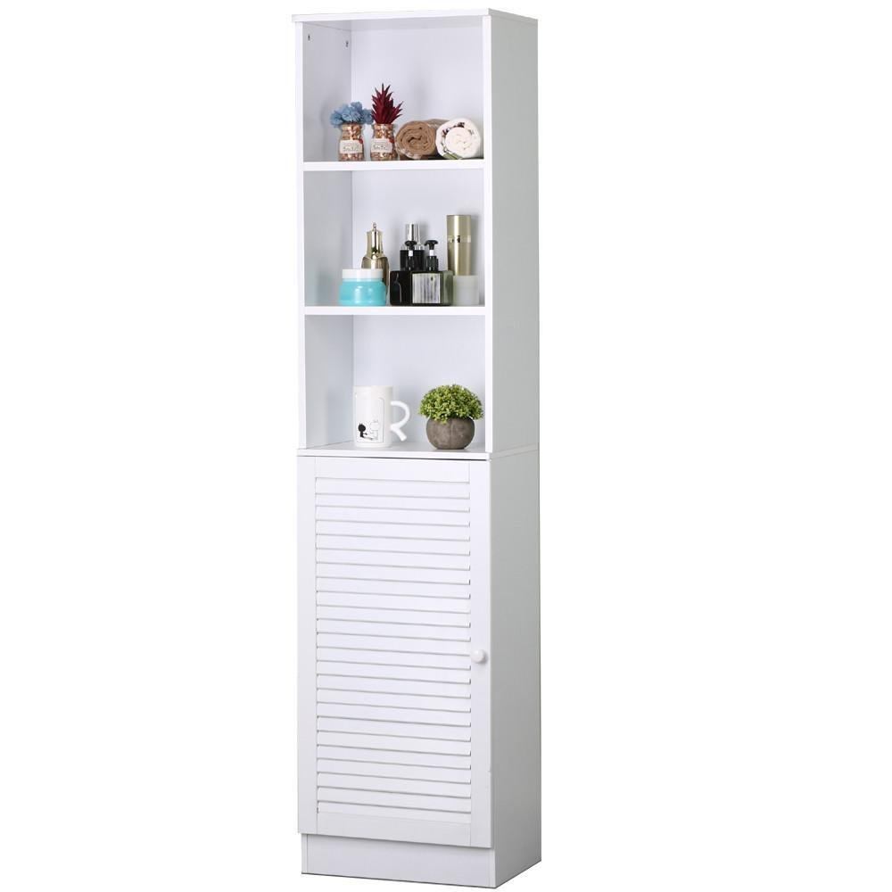 Topeakmart 65.7'' Tall Bathroom Tower Cabinet w/ Louvered Door Bathroom Storage White